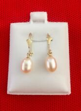 14k Solid Yellow Gold Dangling Earrings w Pinkish/Cream Deep Luster Culture Perl