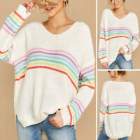 Womens Rainbow Long Sleeve V Neck Sweater Loose Knit Jumper Pullover Top Blouses