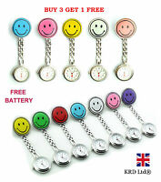 Smiley Stainless Steel Nurse Fob Watch Brooch Tunic Watches With FREE BATTERY B3