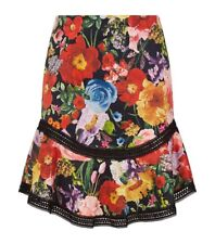 Alice + Olivia Eriko Floral Print Curved Hem Fit And Flare Skirt Size 2 NWT