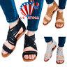 US Stock Women Flats Sandles Ladies Zip Back Gladiator Sandals Summer Soft Shoes