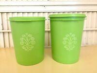 """Vintage 2 Apple Green Canisters Servalier 811-5 & 6 with 1 Lid Tupperware 6"""""""