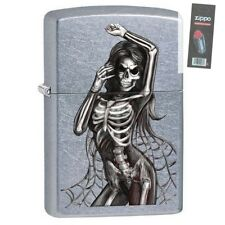 Zippo 29403 Dancing Skeleton Street Chrome Finish Full Size Lighter + FLINT PACK