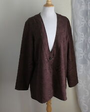 Coldwater Creek -Sz 1X Cocoa Longer Woven One-Button Artsy Animal Print Jacket