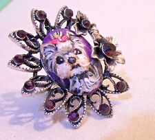 hand painted Yorkie large ring with crystals,one size fits most