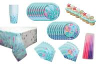 Mermaid Magic Party Plates Napkins Cups Tablecover Cake Favor Set for 8 Guests