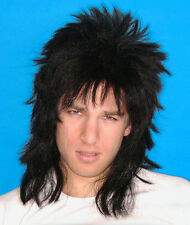 80's Spiky Poita Black Mullet Rock Star WIG Men's Costume Wig