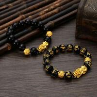 Feng Shui Black Obsidian Beaded Alloy Wealth Charms Bracelet Gold Pixiu Jewelry