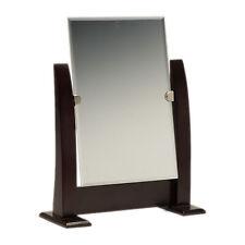 Countertop Adjustable Dark Walnut Wood Frame Glass Mirror Retail Jewelry Makeup