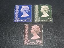 Hong Kong 1976 Sc#325-27 QEII Unwmk 3 Key Value Stamp MNH XF,SCV$279