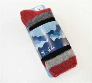 B. Ella Ladies Merino Wool Blend Crew Socks Lexy Stripe Mulberry Red Grey Black