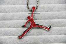 "Hip Hop Red CZ Air Jordan Necklace With 30"" Ball Chain"