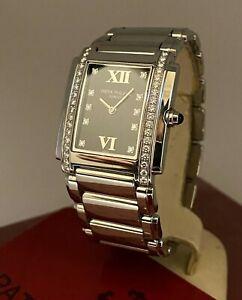 Patek Philippe Twenty-4, ref 4910/10A Black Dial, Diamond Ladies' Watch +Papers.