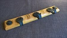 Coat hat rack wall mounted spanners forged iron industrial oak worn patina