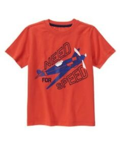 GYMBOREE AWAY WE GO RED w/.AIRPLANE Need for Speed S/S TEE 4 5 6 7 8 10 NWT