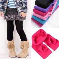 Children Kids Girls Plain Cotton Thick Full Length Leggings Party Pants All Ages