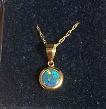 Beautiful 9ct Yellow Gold & Opal Rounded Pendant