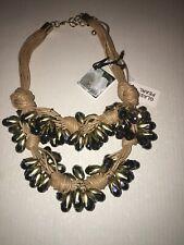 Gardenia glass pearls beige navy blue necklace  new