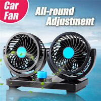 DC12V 360° Rotation Car Vehicle Cooling Air Fan Silent Cooler 2 Speed Kits New
