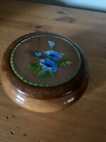 Round Wooden Inlay Lid Hand Painted Trinket Box