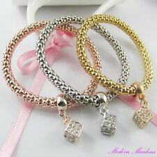 3pce Three Tone Rhinestone Cube Charm Stretch Popcorn Chain Bracelet Set