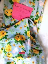 New BETSEY JOHNSON Ultra Plush Throw Blanket Soft Aqua Blue, Yellow Rose, Skull