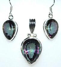 Sterling SILVER SET Mystic Quartz 925 Pendant, drop Earrings; Multi Hue Gemstone
