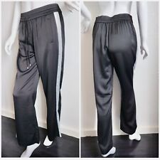 a00d7d50558d Women BNWT Black Loose Satin Trousers Flared Palazzo Side Grey Stripe Pants  - M