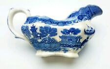 BUFFALO ART POTTERY CHINA  BLUE WILLOW HANDLED OVAL GRAVY BOAT