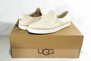 UGG KEILE PERF PEARL WHITE LEATHER PERFORATED SNEAKERS, FLATS, WOMENS 8.5, NIB