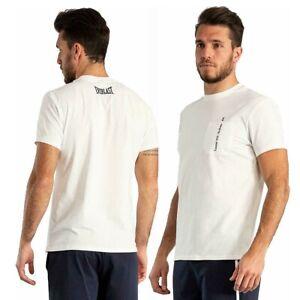 T-shirt uomo EVERLAST sport maglia con taschino e stampa cotone maglietta bianco