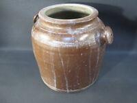 Ancien pot à graisse ou à crème en terre poterie ancienne french antique pottery