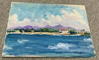 """Original M F Witman Watercolor Tropical Beach Homes Ocean Side  9"""" x 12"""" Signed"""
