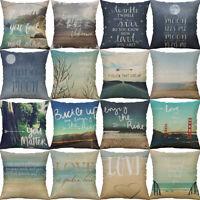 18'' Beach Style Cotton Linen Throw Pillow Case Sofa Cushion Cover Home Decor