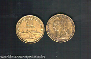 FRENCH SOMALILAND 20 FRANCS KM7 1952 BOAT SHIP RARE AFRICA FRANCE MONEY COIN