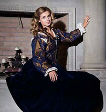 5pc RENAISSANCE DRESS COSTUME Velvet & Chenille FRONT LACE NAVY rgl w/sleeves