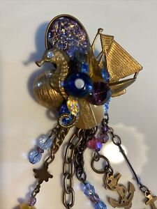 "Signed Lisa Carlson Ocean Seahorse Nautical Theme 5 1/2"" Long Brooch Pin"