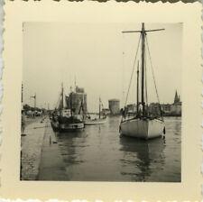 PHOTO ANCIENNE - VINTAGE SNAPSHOT - BATEAU VOILIER PÊCHE LA ROCHELLE - BOAT 1955