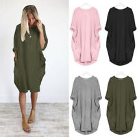 Women's Solid Long Sleeve T-Shirt Dress Pockets Casual Holiday Loose Baggy Tops