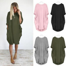 AU Womens Loose Batwing Sleeve Oversize Pocket Mini Shirt Dress Casual Long Tops