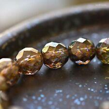 4 Rustic Beauty - Czech Glass, Transparent Gold, Smokey Topaz, Rounds Beads 12mm