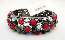 New Stretch Bracelet with Red Black & Clear Rhinetones By Banana Republic #B1258