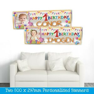 2 PERSONALISED 1ST BIRTHDAY PHOTO BANNERS - ANY NAME - BOY OR GIRL (800 X 297mm)