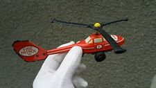 VINTAGE POLICE FIRE PATROL TIN METAL TOY FRICTION HELICOPTER GERMANY GDR DDR