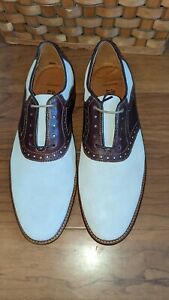 Johnston Murphy Saddle Ivory Nubuck Mens 9.5 Brogue Dress Shoe Sharp Gently Worn