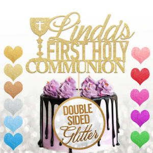 Personalised First Holy Communion Cake Topper Any Name With Cross Glitter Decor