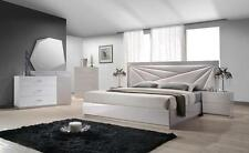 BOGOTA - KING SIZE LIGHT GREY LACQUERED LEATHERETTE BEDROOM SET 5PC