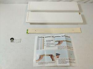 BIROLA White Floating Wall Shelves Crown Molding Style Mantle 2-Pack - DAMAGED