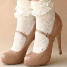 Ladies Lace Ruffle Frill Ankle Socks Cute Princess Kawaii Retro One Size