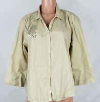 Las Olas Women's Size Large Tan Blouse Bedazzled Pineapples 3/4 Sleeve BF